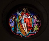 Resurrection of Christ, stained glass windows in the Saint Eugene - Saint Cecilia Church, Paris, France