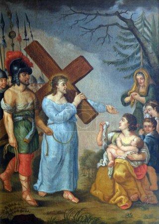 Photo pour 8ème Stations de la Croix, Jésus rencontre les filles de Jérusalem, église de pèlerinage Maria im Grunen Tal à Retzbach dans le quartier bavarois de Main-Spessart, Allemagne - image libre de droit