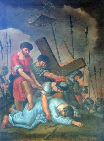 Photo pour 9ème Stations de la Croix, Jésus tombe pour la troisième fois, église de pèlerinage Maria im Grunen Tal à Retzbach dans le quartier bavarois de Main-Spessart, Allemagne - image libre de droit