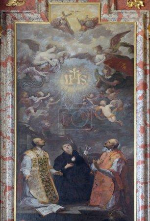 St. Ignatius of Loyola, St. Stanislaus and St. Francis Borgia, Saint Ignatius altar in Jesuit church of St. Francis Xavier in Lucerne, Switzerland