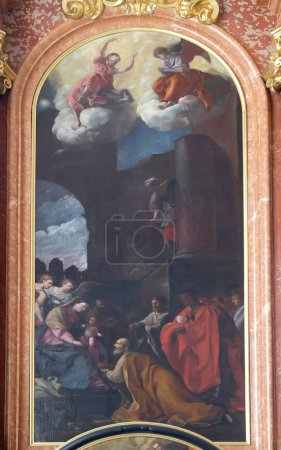 Adoration of the Magi altar in Jesuit church of St. Francis Xavier in Lucerne, Switzerland