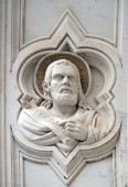 Ezekiel, relief on the facade of Basilica of Santa Croce (Basilica of the Holy Cross) - famous Franciscan church in Florence, Italy