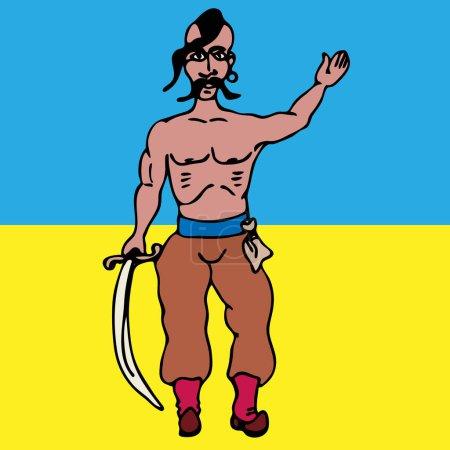 Illustration pour Cosaque ukrainien stylisé avec un sabre à la main droite sur le fond du dessin vectoriel du drapeau de l'État ukrainien - image libre de droit