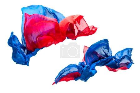 Photo pour Pièces abstraites de tissu multicolor, volants, coup de studio à grande vitesse - image libre de droit