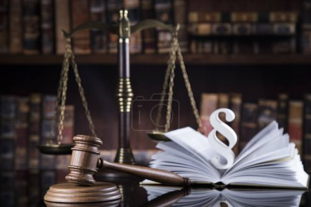 Book, Court gavel,Law theme, mallet of judge and paragraph sign