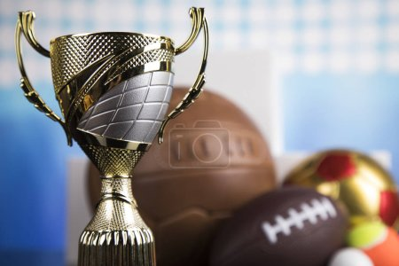Trophy for champion, sport background