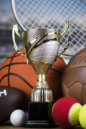 Photo for Cups of winners award, Sport equipment and balls - Royalty Free Image