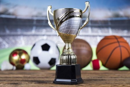 Photo for Achievement trophy, winning sport background - Royalty Free Image