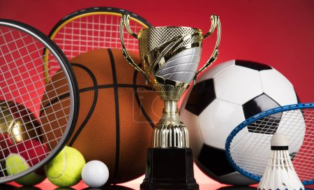 Photo for Award winning and championship concept, trophy cup on sport background - Royalty Free Image