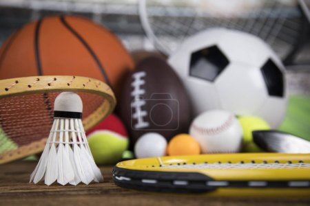 Photo for Winner trophy,  Sport equipment and balls - Royalty Free Image