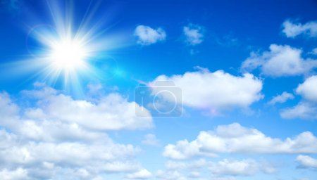 Photo for Sunny background, blue sky with white clouds and sun, 3D illustration. - Royalty Free Image