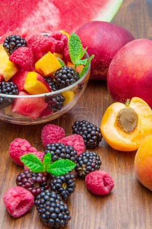 Photo for Mixed fruit with berry on wood - Royalty Free Image