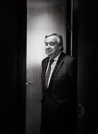 Photo pour New York, Usa - 20 février 2019: Secrétaire général de l'ONU Antonio Guterres lors de l'Assemblée générale des Nations Unies à New York - image libre de droit