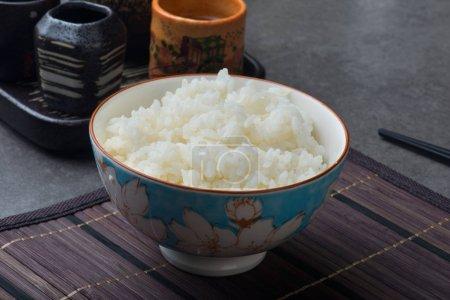 Closeup of prepared japanese rice in bowl