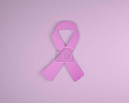 Photo pour Sensibilisation au cancer du sein cancer ruban avec fond rose, rendu 3d - image libre de droit