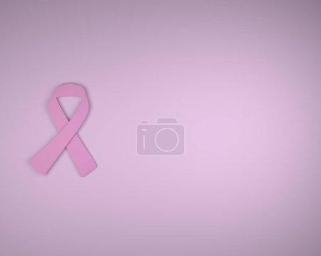Photo pour Sensibilisation au cancer du sein cancer ruban avec fond rose et fond, rendu 3d - image libre de droit