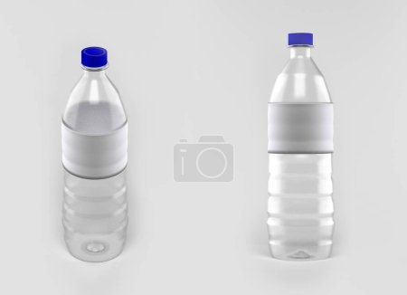 various angle drinking water bottle with empty label, 3D renderi