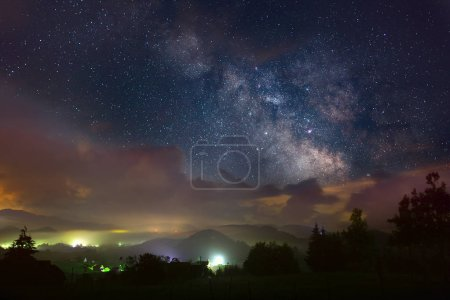 Nightscape with city lights and Milky Way