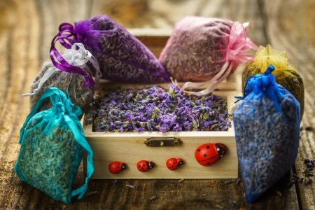 Closeup of potpourri sacks, lavender in small bags for aromatherapy