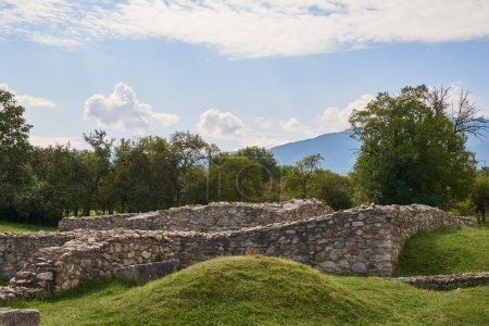 Ancient roman fortress ruins at an archaeology dig site