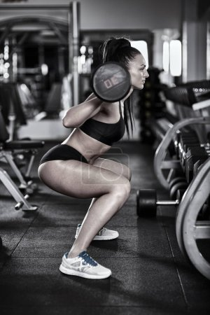 Photo for Young athletic woman doing barbell squats in the gym - Royalty Free Image