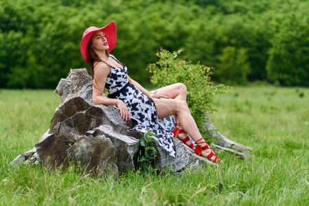 Photo for Gorgeous beauty model in summer dress posing outdoor in an oak forest - Royalty Free Image
