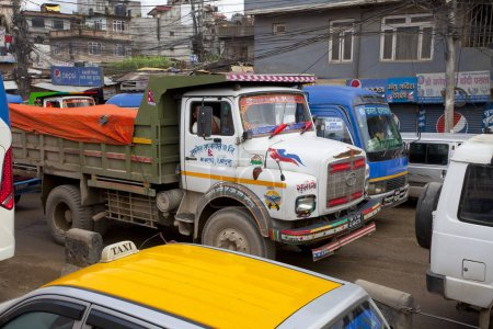 KATHMANDU, NEPAL - JULY 13, 2018: Popular colorful trucks decorated nepalese style. Truck transport is the most popular type of transport between cities in Nepal.