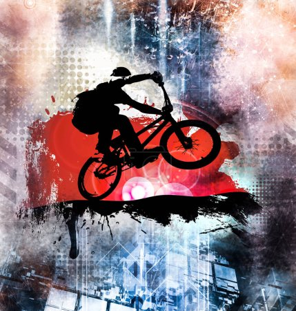 Silhouette of a bicycle rider, vector illustration.
