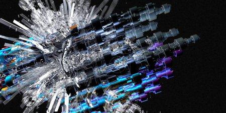 Photo pour Rendu 3D de fond abstrait de la technologie numérique - image libre de droit