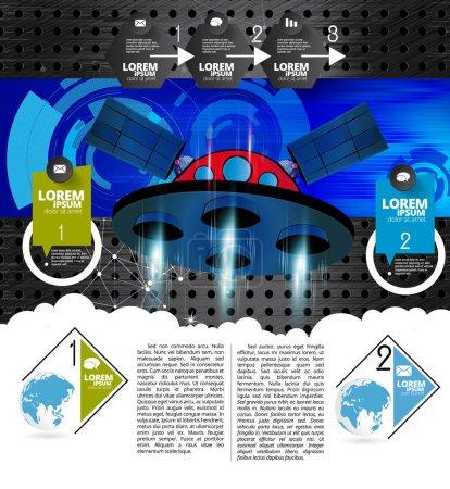 Galaxy space ship rocket, creative idea, vector