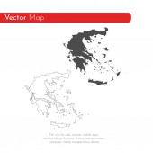 Vector map Greece Isolated vector Illustration Black on White background EPS 10 Illustration