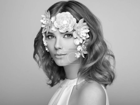 Photo for Face of Beautiful Woman Decorated with Flowers. Perfect Makeup. Beauty Fashion Model Woman Face perfect Skin. Paper Flowers - Royalty Free Image