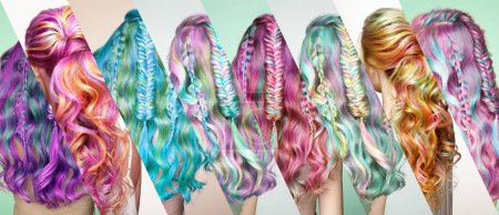 Beauty Fashion Model Girl with Colorful Dyed Hair. Girl with perfect  Hairstyle. Model with perfect Healthy Dyed Hair. Rainbow Hairstyles. Collage photo