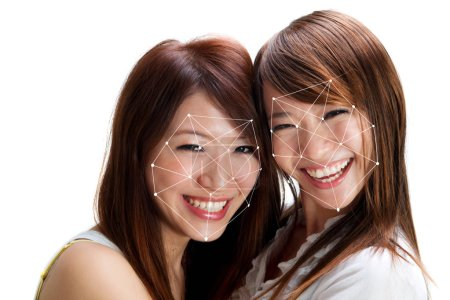 Photo for Facial recognition system concept. Asian women face ID scanning. - Royalty Free Image