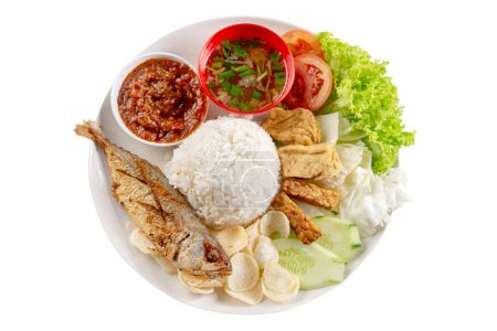 Photo for Fried mackerel fish rice with sambal, popular traditional Malay or Indonesian local food. Isolated on white background. Flat lay top down overhead view. - Royalty Free Image