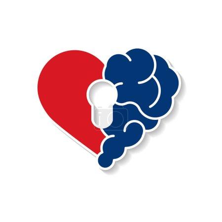 Photo pour Sécurité émotionnelle du cerveau verrouillé. Broken Heart and Brain avec vecteur de hall clé design vectoriel logo icône moderne plat. Interaction entre la clé de l'âme pour l'intelligence, les émotions, la solitude, le divorce, la rupture de la relation, la pensée rationnelle - image libre de droit