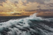 sea wave and dark clouds