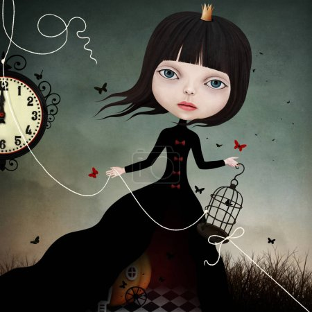 Conceptual illustration with a fairy tale character little Cinderella.