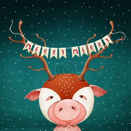 Holiday greeting card or poster pig mask deer horns with Christmas or New Year