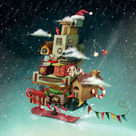 Photo for Holiday greeting card or poster with hurtling Christmas fantasy house with gifts - Royalty Free Image