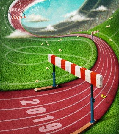 Foto de Ilustración de ilusión de fantasía en la pista del estadio de deportes con barrera - Imagen libre de derechos