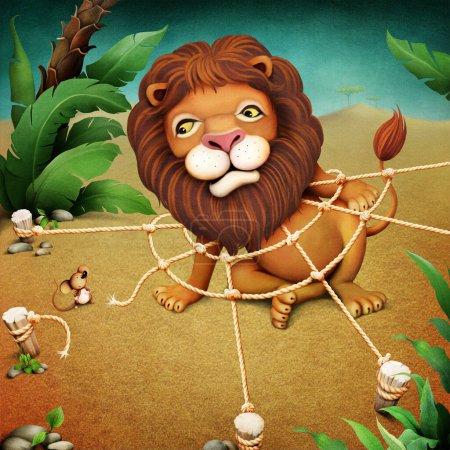 Photo pour Illustration fantastique ou affiche sur le lion maléfique qui est entré dans le filet, et la souris. - image libre de droit