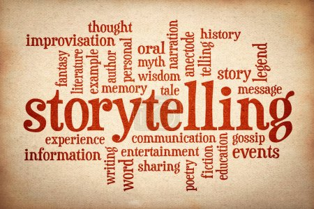 Photo for Story and storytelling word cloud - red text on canvas - Royalty Free Image