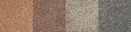 Photo pour Collage de quatre textures impct haut toit de bardeaux d'asphalte dans différents tons de couleur marron et grise - image libre de droit