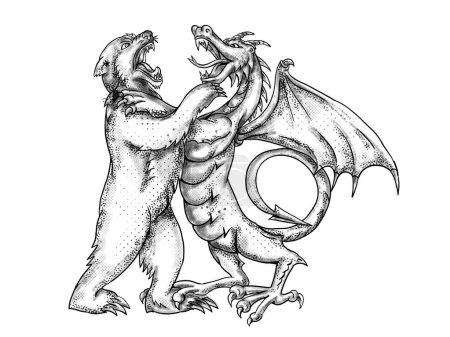 Photo pour Illustration de style d'un dragon chinois wrestling, joute, combat ou lutte contre un ours grizzly sur fond blanc isolé, fait en noir et blanc noir et blanc de tatouage - image libre de droit