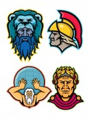 Mascot icon illustration set of heads of Roman and Greek heroes and gods in mythology  like Hercules or Heracles Achilles or Achilleus Atlas lifting globe and Gaius Julius Caesar  viewed from  on isolated background in retro style