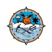Mascot icon illustration of head of a moose with parachute and star of life symbol and crossed trident and ice axe set inside compass symbolizing pararescue land sea and air emergency rescue
