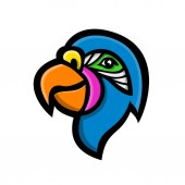 Mascot icon illustration of head of a parrot also known as psittacine birds  that mostly found tropical and subtropical regions viewed from side on isolated background in retro style