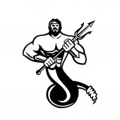 Mascot icon illustration of TyphonTyphoeus Typhaon or Typhos a monstrous serpentine giant and the most deadly creature in Greek mythology holding a trident in black and white on isolated background in retro style