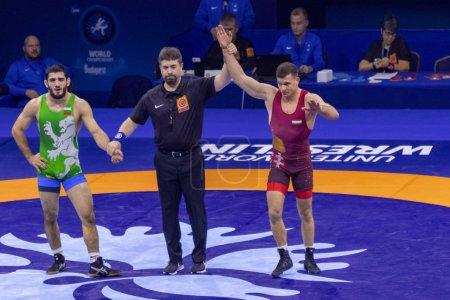Photo pour Budapest Hongrie Oct 21 28 2018: pré-sélection Man World Championship Wrestling, beaucoup de nations meilleur endroit de rencontre pour la finale - image libre de droit